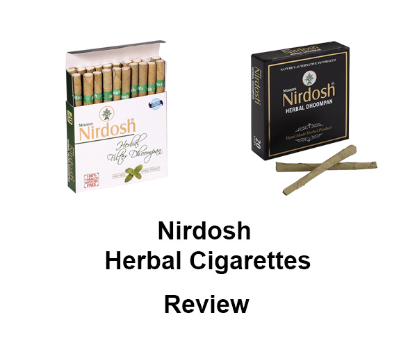 nirdosh herbal cigarettes pack with text